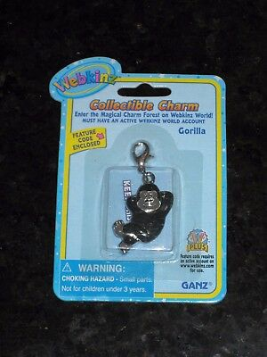 Webkinz Collectible Charm - GORILLA - New with Unused Code