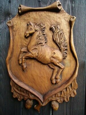 Antique Black Forest Fine Carved Wood Wall Plaque-Horse-Wood Figure Sculpture-