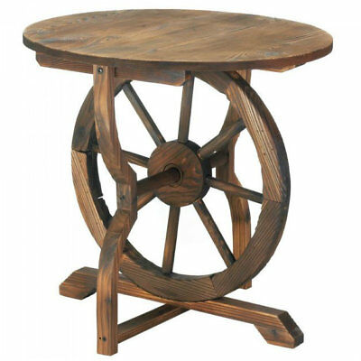 Wood Wagon Wheel End Table Fir Wood and Iron 22 x 20 rustic side table in or out