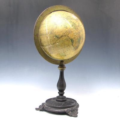 "Antique 1870's J. Schedler's 6"" Table Desk Terrestrial Globe on Cast Iron Stand"