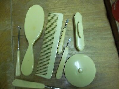 8 Vintage Vanity Items-French Ivory,Pyralin,Acwalite-Buffer,Mirror,Brush,Tools