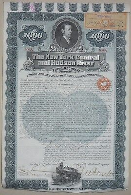 The New York Central and Husdon River Railroad compagny certificate 1897