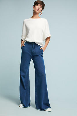 NWT Anthropologie Wide Leg Denim Effect Knit Sweat Pant Blue Long Flare Trousers