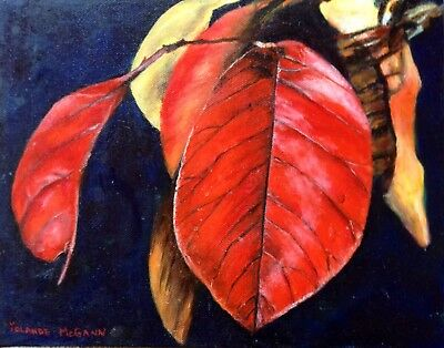 """Original Oil On Canvas By Artist- Autumn Leaves, 8"""" x 10"""" - $110.00"""