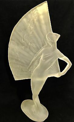 "HUGE Vintage Art Deco Frosted Acrylic/Lucite Burlesque Female Figure - 23"" Tall"