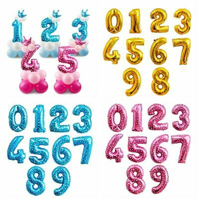 32'' Gold Blue Number Foil Balloons Party Boy Girl Baby Shower Birthday Decor