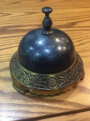 Antique Vintage Silver Plated Hotel Service Bell with Cast Iron Base