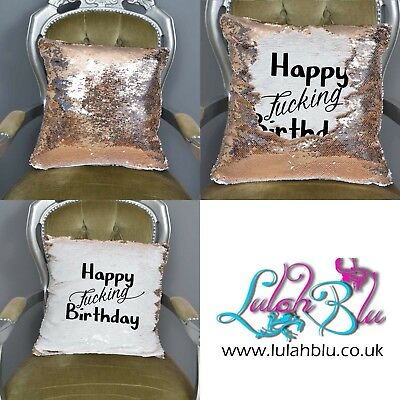 Happy Fucking Birthday Sequin Reveal Mermaid Cushion Gift   Funny Sequined Cover