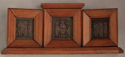 RARE Antique Icon Russian Bronze Triptych In Wooden Casing 19th century Russia