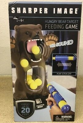 New In The Box Sharper Image Hungry Bear Target Feeding Game With Sound
