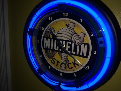***Michelin Man Tires Old Logo Garage Man Cave Blue Neon Wall Clock Sign