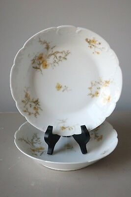 Haviland Limoges Schleiger 668H Coupe Cereal Bowls, Set of (2) Yellow Flowers