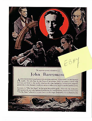 1926 Silent Movie Photo Ad The Sea Beast John Barrymore Moby Dick