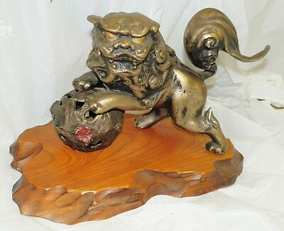 Vintage Solid Brass Lion Figurine Sculpture Statue Large Heavy  9.10 LBS.