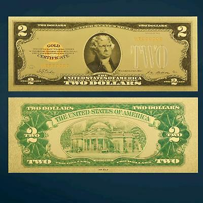 24K Gold Plated 1928 $2 Gold Novelty Dollar Banknote Bill With Sleeve