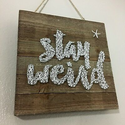 Inspirational Quote Stay Weird Wooden Nail String Art Wall Hanging Decor