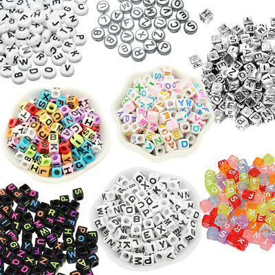 400 to 600  Alphabet Mixed Letters Cube or Round Beads 6mm/7mm Jewellery Making