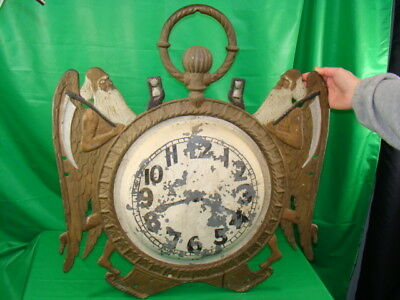 Antique Cast Iron Sign Jeweler's Clock Shop Father Time Figural Early American