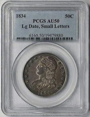 1834 Large Date, Small Letters Capped Bust Half Dollar Silver 50C AU 50 PCGS