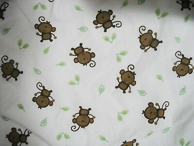 Koala Baby Fitted Cotton Crib Sheet Brown Monkies and Green Leaves on White EXC