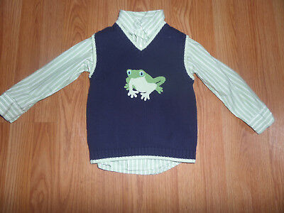 Janie and Jack Hop Into Spring Sweater Vest Striped Shirt Green Frog Size 3T
