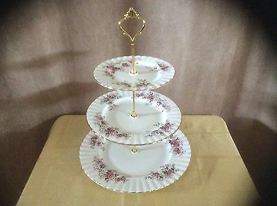 A Vintage Royal Albert Lavendar Rose 3 Tier Cake/Sandwich Stand.