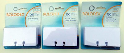 Lot of 3 ROLODEX  2 1/4 x 4 PLAIN REFILL CARDS New In Packages 100ea (300) 67558