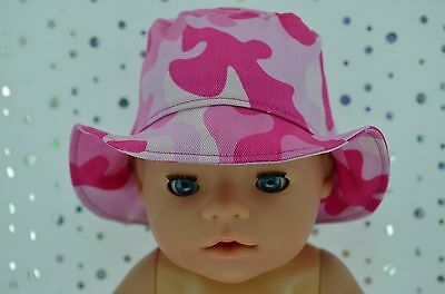 "Play n Wear Doll Clothes To Fit 17"" Baby Born PINK CAMOUFLAGE DRILL SUN HAT"