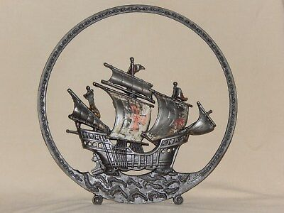 Antique Decorative Round Cast Iron Sailing Ship Fireplace Screen Guard