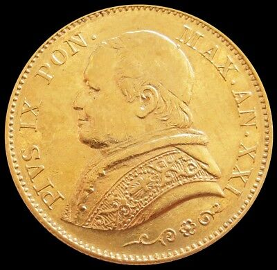 1866 R Xxi Gold Italy Papal States 20 Lire Pope Pius Ix Coin About Uncirculated
