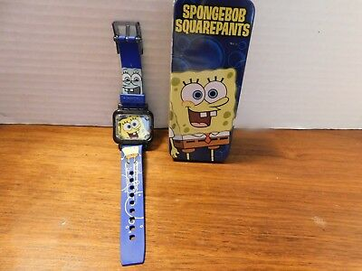 SQUAREPANTS WATCH in tin, With Instructions c 2004 Viacom Burger King