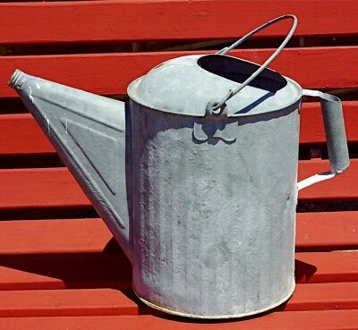 Vintage Lrg. Galvanized Watering Can Shabby Country Farm Yard Art Planter Craft
