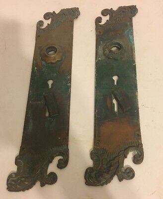 Pair of Art Nouveau Arts & Crafts Door Lock Handle Plate Antique Victorian Brass