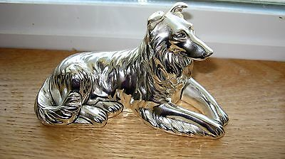 Gorgeous Silver Plated Border Collie,Collie Figurine, Made In Italy, Fine Detail