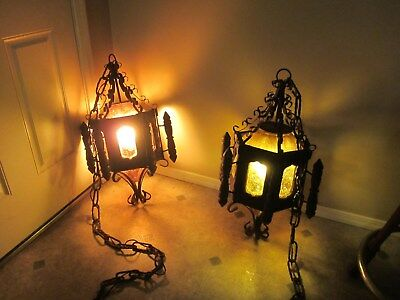 Vintage (2) Wrought Iron & Wood Gothic Spanish Hanging Swag Lamps