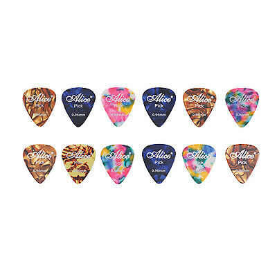 12 Assorted Colour (3 Designs) Celluloid Guitar Picks (Thickness (mm) 0.96)
