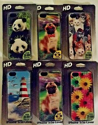 New/Sealed Lot of 6 HD 3D iPhone 5/5s Covers FREE Shipping