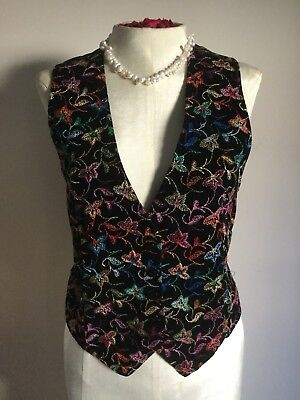 Vintage 80's Fredrick's Of Hollywood Black Velvet VEST Embroidered Top Medium