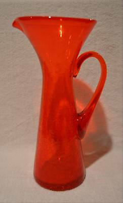 "Vintage 12"" Orange Blenko Crackle To Clear Pitcher Mid-Century Modern"