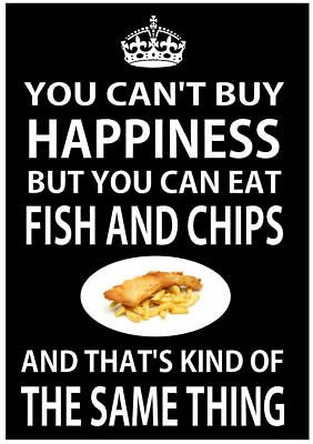 You Can't Buy Happiness You Can Eat Fish & Chips METAL SIGN PLAQUE chip shop fun