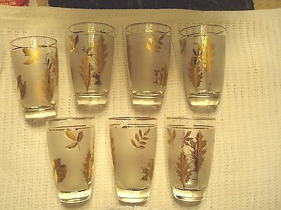 10 Oz Flat Tumbler in Golden Foliage by Libbey Glass Company SET OF 7