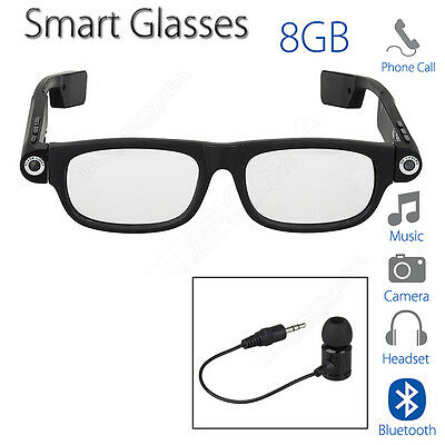 Smart Glasses Bluetooth 4.0 8GB Card Headphone Headset Wireless for IOS Android