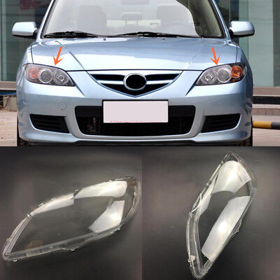 LH&RH HeadLamp Headlight Cover Replacement Cover with glue for Mazda 3 2006-2012