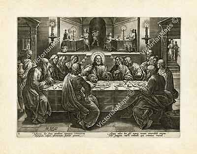 Last Supper Jesus Christ antique engraving Stradanus Galle 1580 art poster print