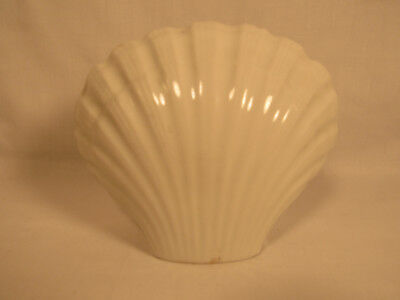 Vintage Antique Art Deco White Porcelain Shell Dish Wall Mount Soap Holder Bath