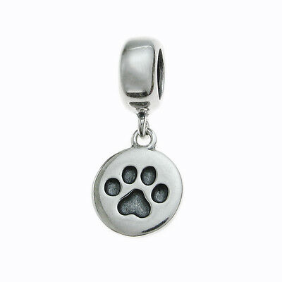 Sterling Silver Dog Puppy Paw Print Round Dangle for European Charm Bracelets