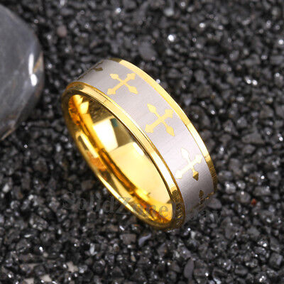 8mm Gold Brushed Mens Tungsten Carbide Ring Christian Cross Wedding Band Jewelry