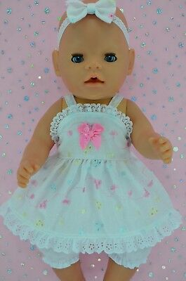 "Play n Wear Doll Clothes For 17"" Baby Born MULTI COLOUR DRESS~BLOOMERS~HEADBAND"