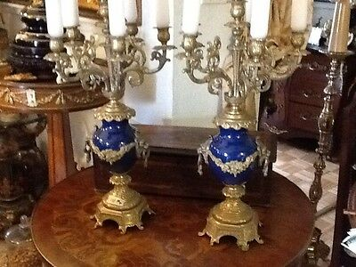 1 Pair Of Antique 19th Century Sevres Style Cobal And Gild Bronze candelabras