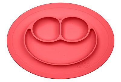 ezpz Mini Mat - One-piece silicone placemat + plate Coral, One Size